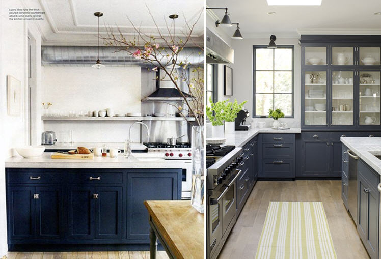 Blue Gray Kitchen Walls With Black Appliances